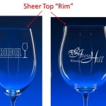 Engraved Wine Glass Sheer Top Rim