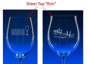 Engraved Wine Glass Sheer Top Rim
